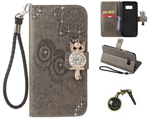 Preisvergleich Produktbild Galaxy S8+ / S8 Plus Wallet Case für Samsung Galaxy S8+ / S8 Plus (6,2 Zoll) Flip Hülle Laoke Eule Blumen Muster Handyhülle Schutzhülle PU Leder Case Skin Brieftasche Ledertasche Tasche im Bookstyle in (+Staubstecker) (1)