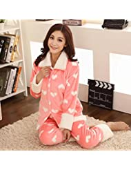 &zhou pijamas mujer ocio cardigan invierno pijamas gruesos hogar ropa , pink , xl