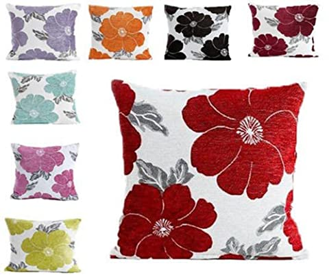 Poppy, Chenille Cushion Covers, Floral Cushions, Pillow Covers, 18