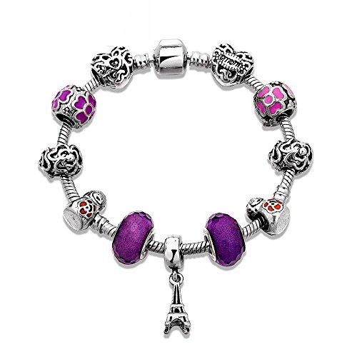 Hypoallergen Modeschmuck Schmuck Paris Eiffelturm Perlen Glasperlen Armband Schmuck , Silber