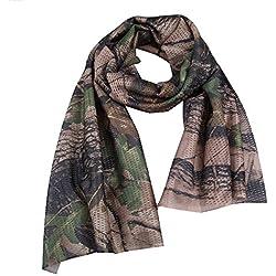 Écharpe en maille aérée Broadroot style camouflage, multifonction, foulard pour le cou, bandeau pour protéger le visage, la tête, pour le plein air, en voyage, Leaves Camo