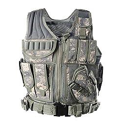LIANA IRWIN Taktische Weste Herren, Militär Tactical MOLLE Weste Für Jagd CS Outdoor (Tarnung grau)