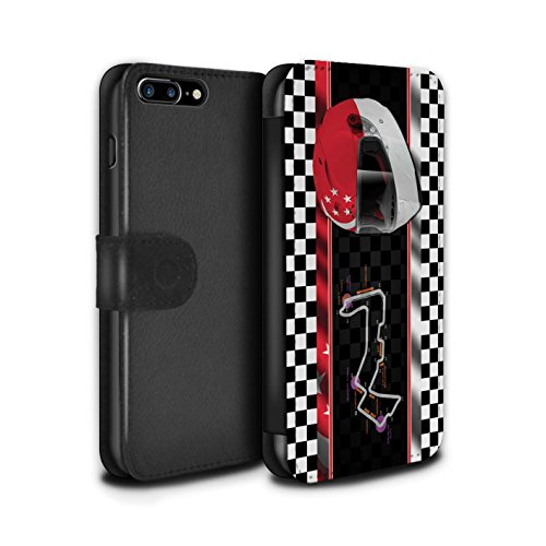 Stuff4 Coque/Etui/Housse Cuir PU Case/Cover pour Apple iPhone 8 Plus / USA/Austin Design / F1 Piste Drapeau Collection Singapour