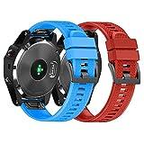NotoCity Armband für Garmin Fenix 5X /Fenix 5X Plus/Fenix 6X /Fenix 6X Pro/Fenix 3 /Fenix 3 HR, 26mm Breite Silikon Quick-Fit Uhrenarmband für Garmin, Mehrfache Farben (Rot + Blau)