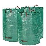Glorytec Gartensack 3 x 300 Liter - 3 Premium Gartensäcke XXL - Stabile Gartenabfallsäcke aus Extrem Robustem Polypropylen-Gewebe (PP) 150gsm - Selbststehend und Faltbar Laubsäcke