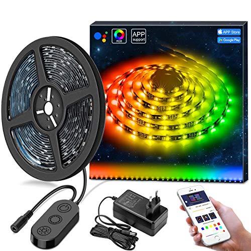 MINGER DreamColor LED Streifen mit eingebautem IC, 5m RGB LED Strips Sync mit Musik, wasserdichte LED Kette mit APP, 300 LEDs SMD 5050 flexibler LED Schlauch LED Stripes mit Netzteil für Deko Party Weihnachten