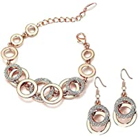 Shining Diva Fashion AAA Crystal 18k Rose Gold Stylish Jewellery for Women and Girls