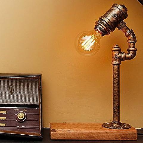 Lámpara de mesa de hierro forjado viento industriales retro madera simple tubos calidad