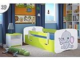 Kocot Kids Kinderbett Jugendbett 70x140 80x160 80x180 Grün mit Rausfallschutz Matratze Schublade und Lattenrost Kinderbetten für Mädchen und Junge - Jumbo 160 cm