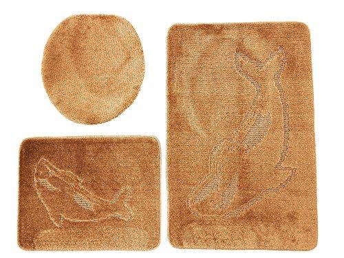 Delphin Badgarnitur 3 tlg. Set 55x85 cm Braun WC Vorleger ohne Ausschnitt für Hänge-WC