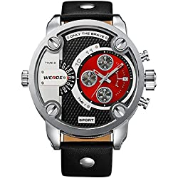 Alienwork DualTime Quartz Watch Multi Time Zones Wristwatch XXL Oversized Leather red black OS.WH-3301-5