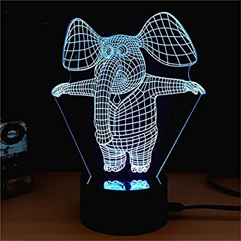 Creative Elephant 3D Optical LED Illusion Lamps, FZAI 7 Color Flashing Art Sculpture Lights Bedroom Desk Table Night Light Awesome