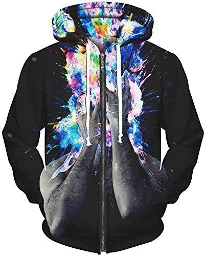 TDOLAH Herren Spaß Hoodie Sweatshirts 3D Digital Print Kapuzenpullover mit Reißverschluss (L / XL, Feuer in Farbe)