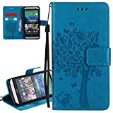 ISAKEN HTC M8 Case, New Solid Blue HTC M8 Case, ISAKEN PU Leather Cover with Strap for HTC M8 - Fashion Cat Tree Pattern Design Bookstyle Cell Phone Case Luxury Pu Leather Wallet Magnetic Design Mobile Cover Protect Skin Stand Case Pouch with Card Holder - Tree: blue