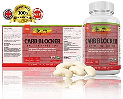 Carb Blocker by Rasta-Viti - Control Carbohydrates & Block Starch from meals - Burns Fat to Assist Weight Loss - Strong White Kidney Bean & Guarana Extract - High Strength Formulation Diet Pills with Vitamin C for Men & Women - 60 Medically Approved Slimm