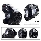 GSDZN - Motorradhelm Integralhelme Doppelte Linse Anti Nebel Vollgesichtshelm Halber Helm Herausnehmbares Innenfutter Sicher Und Bequem,Brightblack-L