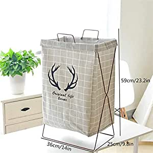 STAR WORK Storage Box Iron Frame Stand Laundry Basket (Colour May Vary, Standard Size)