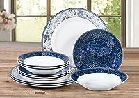 12 Piece Blue Midnight Garden Dinner Set