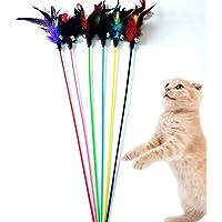Cdet 5X Las plumas largas de la cuerda toman el pelo juguete de plumas interactivo para gato,Color aleatorio