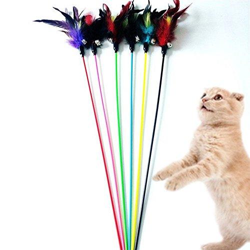 Nikgic 48cm Lange Praktische Fünf-Stück Farbe Feder Flexible Flexible Interaktive Spielzeug Hochwertige Kunststoffstab Katze interaktives Spielzeug Pädagogisches Spielzeug (Kostüm Einzigartige Katze)