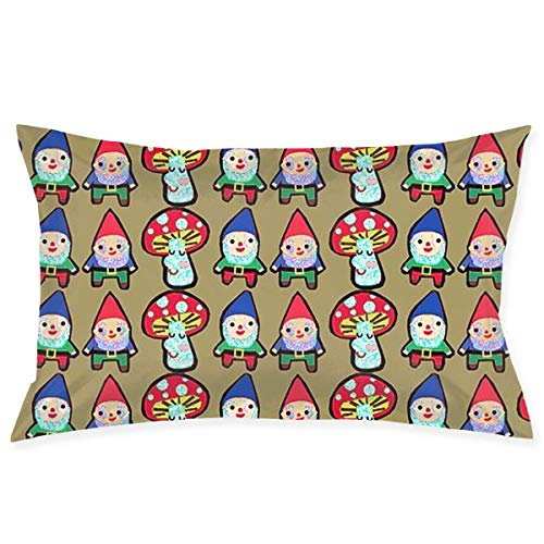 Bikofhd Almohada Case GNOME Mushroom Mash Novelty Cute Funny Soft and Cozy with Hidden Zipper 1pc Queen...