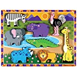 Melissa & Doug Safari Wooden Chunky Puzzle (Preschool, Chunky Wooden Pieces, Full-Color Pictures, 8 Pieces)