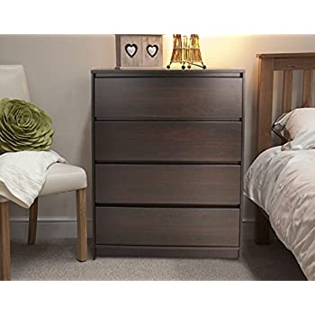 Chest of Drawers Walnut 4 Drawer Dark Wood Bedroom Drawer Chest ...