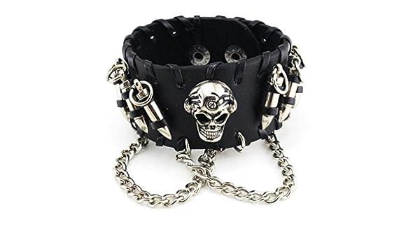 Skull Chain Leather Bangle Bracelet Men Adjustable Punk Gothic Handmade Leather Rope Bullets Wristband Bracelet Punk Rock Wide Leather Strap Bracelet Bullet Chain Wristband Snap Adjustable