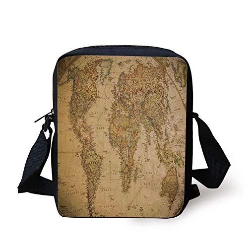 Wanderlust Decor,Anthique Old World Map in Retro Color with Vintage Nostalgic Design Art Print Deco,Cream Print Kids Crossbody Messenger Bag Purse -