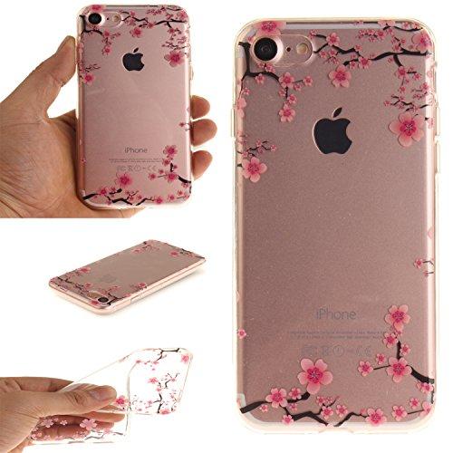 Pour iPhone 7G / 7 Coque,Ecoway Housse étui Flexible protection en TPU Silicone Shell Housse Coque étui creux Slim Case Cover Cuir Etui Housse de Protection Coque Étui iPhone 7G / 7 –magnolia prune fleur