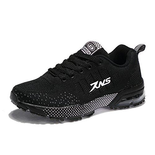 ZanYeing Damen Herren Sportschuhe Ultra Leichte Laufschuhe Rutschfeste Sneakers Mädchen Junge Schuhe mit Dämpfung Sommerschuhe Farbe:-Schwarz Gr:-42 EU