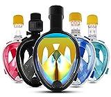 Full Face Tuba Masque W/180° vue panoramique   antibuée, antifuite Joint   Intégré avec tuba, GoPro Support   support respiration gratuit   Jeunes et adultes L Version 2 - Black UV