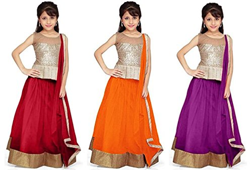 Market Magic World Girl\'s Net Semi Stitched Kids Wear Lehenga Choli (MMW-09244_Maroon,Orange & Purpel_Free Size_8 to 12 year age)