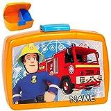 alles-meine.de GmbH 2 TLG. Set _ Lunchbox / Brotdose & Trinkflasche -  Feuerwehrmann Sam  - incl. Name - mit extra Einsatz / herausnehmbaren Fach - BPA frei - Brotbüchse Küche .. Test