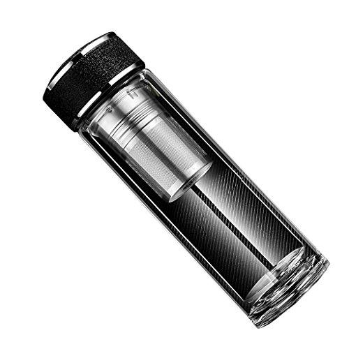 iggiqy996q- Double-Couche Hommes et Femmes Coupe Tasse Maison Thé Séparation Transparent Verre Thé Portable Tasse tasse à café (Couleur : Noir, Taille : 450ml)