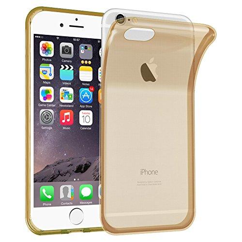 Preisvergleich Produktbild Cadorabo Hülle für Apple iPhone 6 Plus / iPhone 6S Plus - Hülle in TRANSPARENT Gold – Handyhülle aus TPU Silikon im Ultra Slim 'AIR' Design - Silikonhülle Schutzhülle Soft Back Cover Case Bumper
