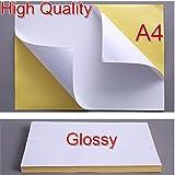 iShoot - 10 hojas de papel de impresión autoadhesivo para impresoras de inyección de tinta o láser, tamaño A4, 21 x 29 cm, color blanco, acabado con brillo, color blanco