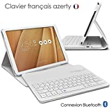 KARYLAX Seluxion - Etui de Protection Blanc avec Clavier Français Azerty Connexion Bluetooth pour Tablette ASUS Zenpad 10 Pouces [Z300C/Z300M/Z301M Dimensions 251,5 x 172 x 8,3mm]