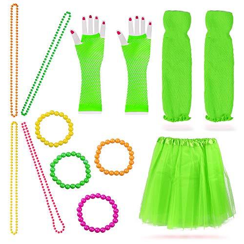 Beelittle Frauen 80er Jahre Outfit Outfit Kostüm Zubehör Set (13-Fruit Green)