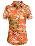 SSLR Damen Blumen Flamingos Freizeit Aloha Hawaii Blusen (Large, Orange)