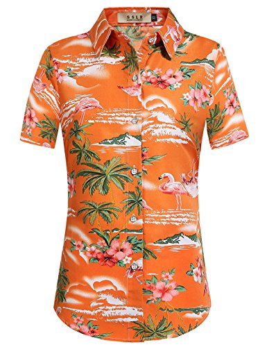 Hawaii Hochzeit Shirts (SSLR Damen Blumen Flamingos Freizeit Aloha Hawaii Blusen (Large, Orange))