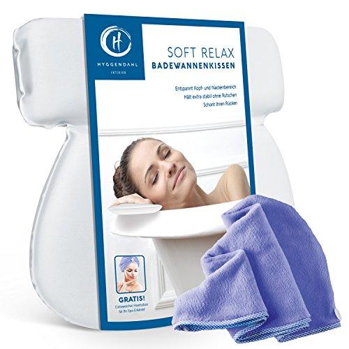 HYGGENDAHL Badekissen-Set mit Kopf-Handtuch | Nackenkissen für Badewanne, Jacuzzi & Whirlpool | Badewannenkissen mit 7 starken Saugnäpfen - Weiss