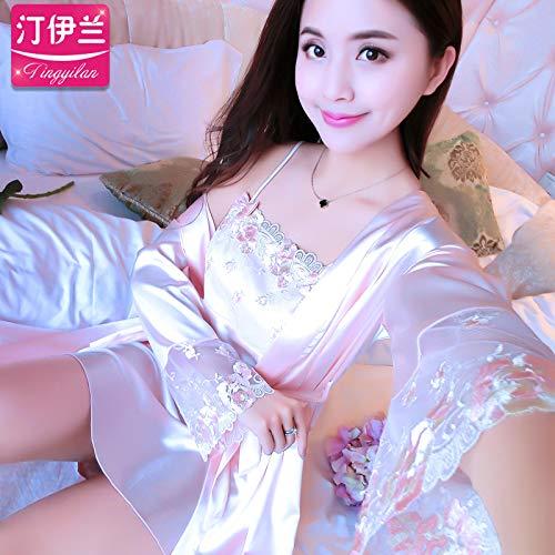 Underwear hall Pyjamas Damen Sommer Ice Set Kurzarm zweiteilig Nachthemd Sexy Korean Fresh Student Home Kleid Sling Sweet, 175 (XXL), 702-Champagne Gold (Gold Champagne Kleid)