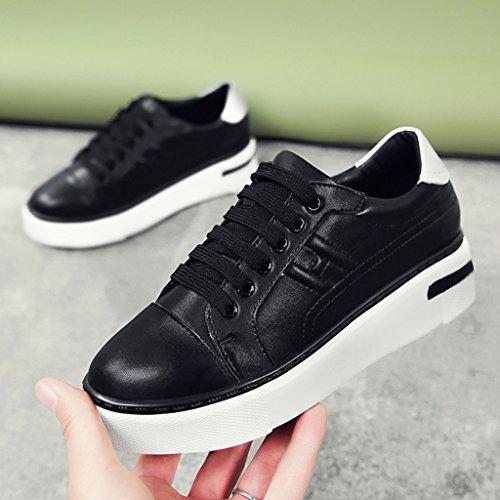 HWF Chaussures femme Printemps Sport Plate Chaussures Étudiant Épais Bas Casual Plate-forme Femmes Chaussures simples Blanc Femme ( Couleur : Blanc , taille : 35 ) Noir