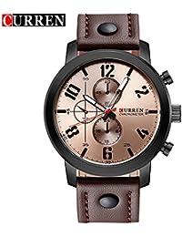 Curren nueva moda Casual reloj de cuarzo correa de los hombres de la gran esfera marrón resistente al agua reloj de pulsera, 8192G