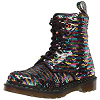 Dr. Martens Womens 1460 Pascal Sequin Black Silver Two Tone Ankle Boots