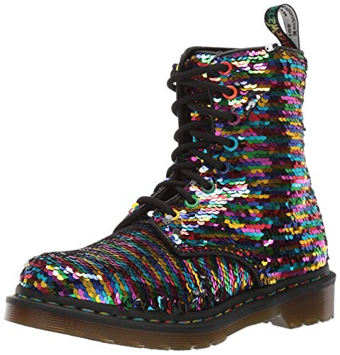Dr. Martens Women's 1460 Pascal Sequin Lace Up Boot Rainbow Multi/Silver Size 8 (Dr. Martens 1460 Schnürsenkel)