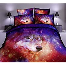 Galaxy Wolf Juego de cama Pink Red Purple Nebula Space Animal Funda de edredón Funda de almohada (150x210cm)