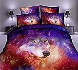 Best Mandala Crafts Friend Matchings - Galaxy Wolf Bedding Set Pink Red Purple Nebula Review