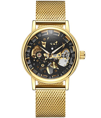 SEWOR Mens Hollow Skeleton Carving Mechanical Hand Wind Wrist Watch with Mesh Band (Gold Black)